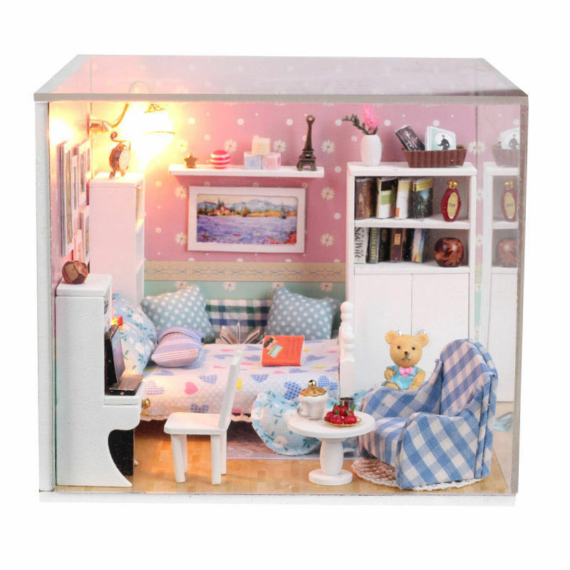 New Kits Diy Wood Dollhouse Miniature With Led Furniture Cover Doll House Room Ebay