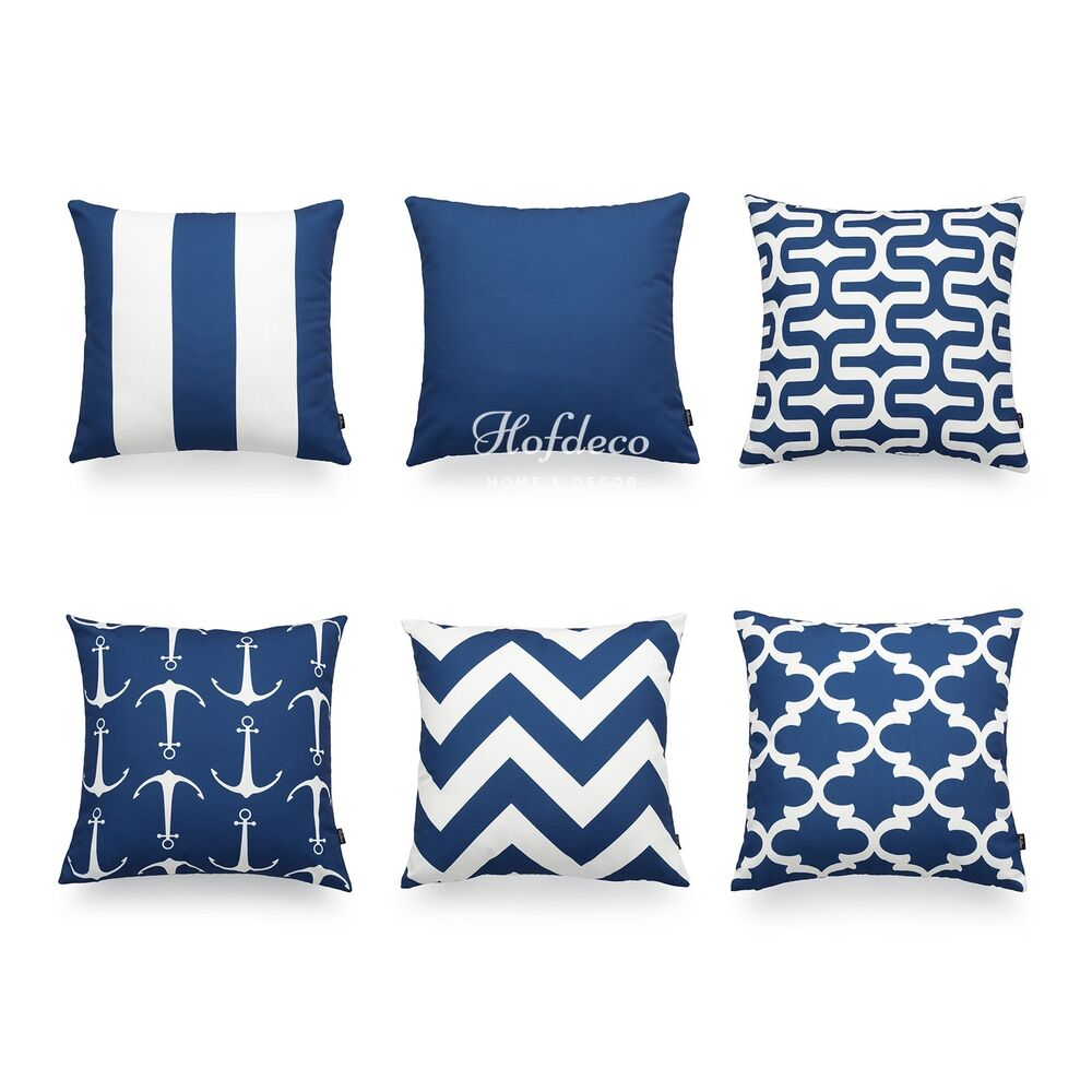 Decorative Throw Pillow Cover Navy Blue Nautical Geometric Coastal Sofa Decor 18 eBay