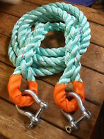TOW ROPE/OFF ROAD  4 X 4 RECOVERY 28mm POLYSTEEL 8mtr 13.7 TON  with SHACKLES