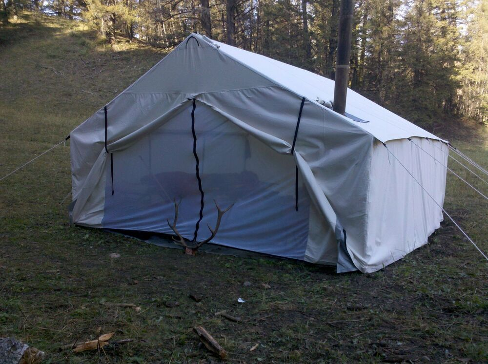 New 12x14x5ft magnum canvas wall tent angle for Homemade wall tent frame