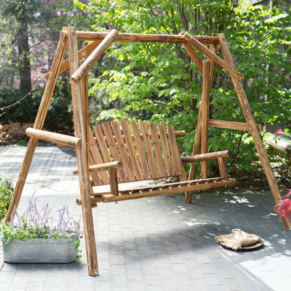 Wood porch swing bench deck yard outdoor garden patio rustic log frame set new ebay Yard bench