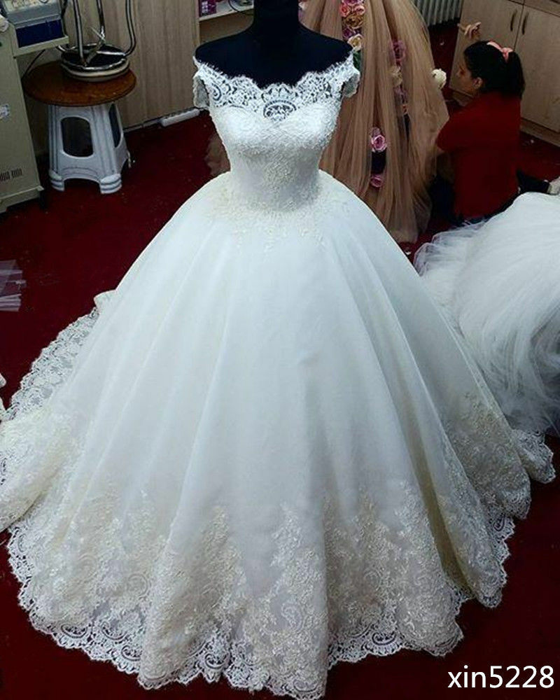 White ivory ball gown wedding dress bridal gown custom for White dresses for wedding
