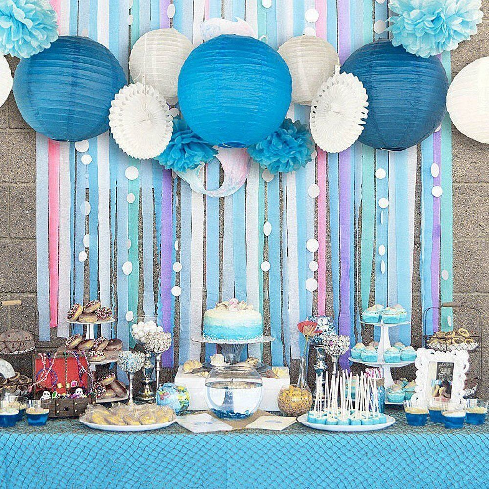 13pcs Blue Beach-Themed Party Paper Crafts Decor For