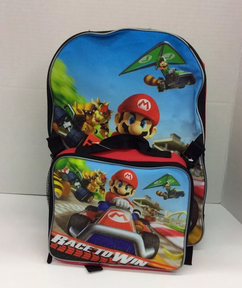 Super Mario Backpack with Attached Lunch Box School Bag