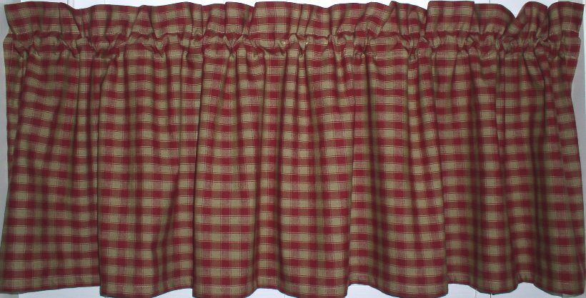 Berry Red Checked Plaid Valance Primitive Country Curtains