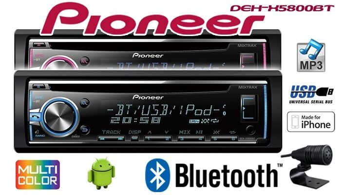 pioneer deh x5900bt autoradio bluetooth vivavoce cd porta usb stereo ebay. Black Bedroom Furniture Sets. Home Design Ideas