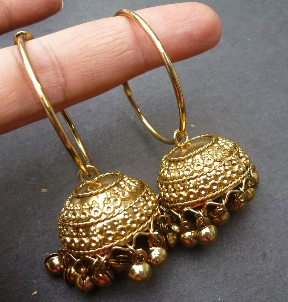 Indian 22k Gold Plated Wedding Necklace Earrings Jewelry: Indian Bridal Gold Plated South Traditional Earrings