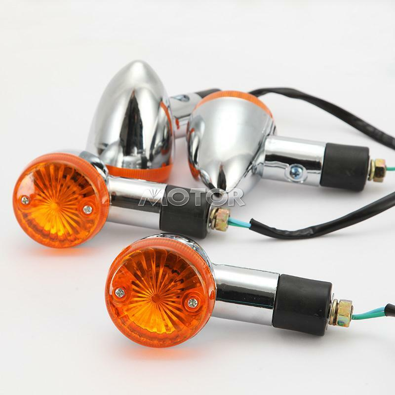 4x chrome bullet amber turn signal light for honda vtx. Black Bedroom Furniture Sets. Home Design Ideas
