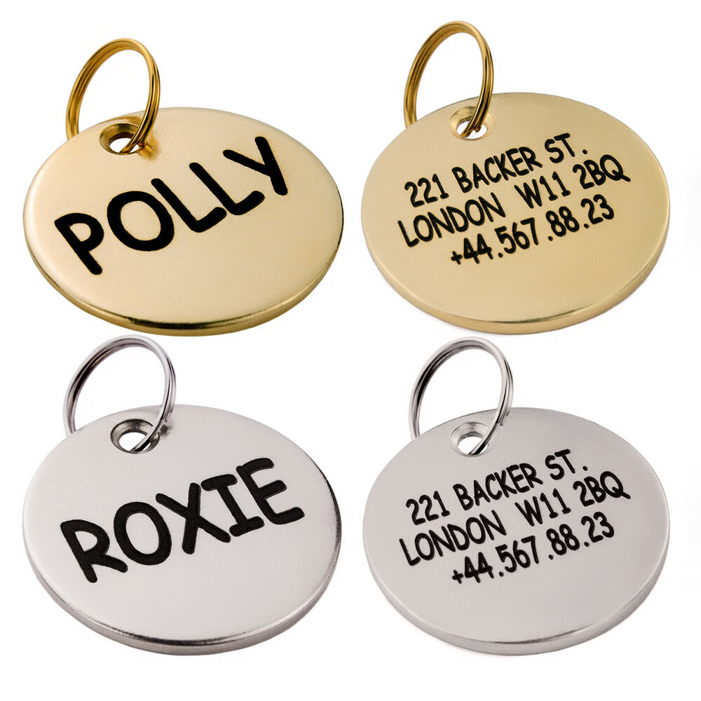 Dog Id Tag Custom Personalized Engraved Brass Silver Pet