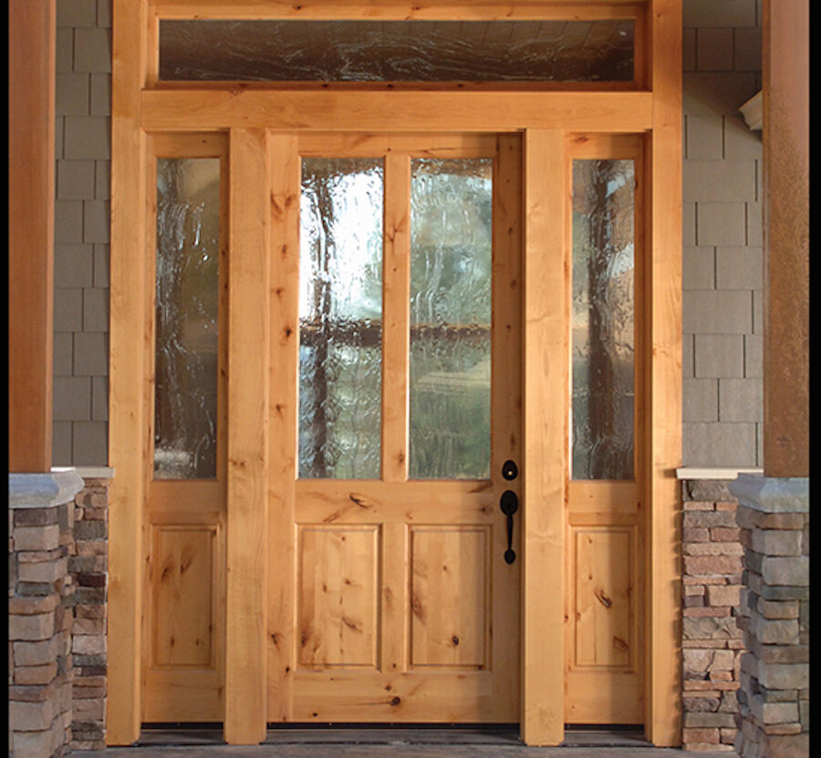Knotty alder 2 lite craftsman entry door with side lites for Exterior side entry doors