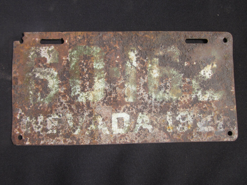 Vintage 1921 Nevada License Plate 60162 Maybe A Homemade