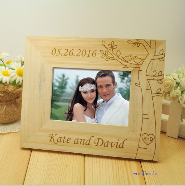 Wedding Gift Sale: Love Wood Photo Frame Custom Personalized Name And Date
