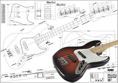 jazz bass style 4 string electric bass guitar full scale plan ebay. Black Bedroom Furniture Sets. Home Design Ideas
