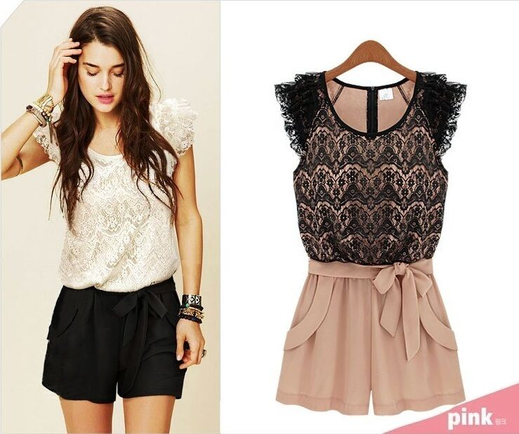 WOMENS SEXY SUMMER LACE ROMPER JUMPSUIT SHORTS PARTY DRESS TOWIE OUTFIT | eBay