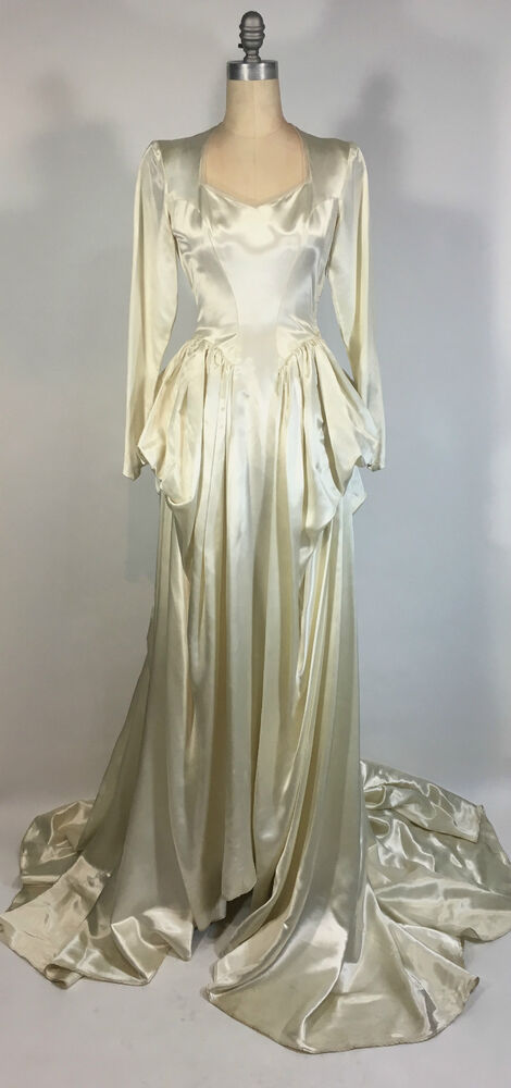 Vintage 1950s ivory satin dramatic draping cathedral train for Restoring old wedding dresses