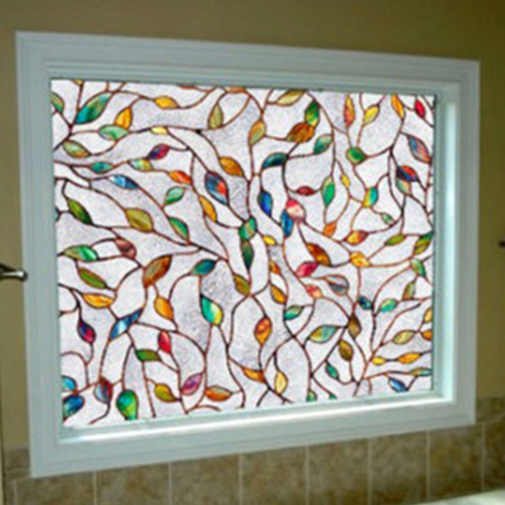 45x100cm 3d Leaf Static Cling Stained Glass Window Film