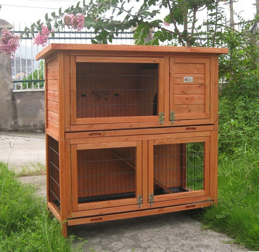 Rabbit hutches hutch deluxe double decker rabbit guinea for What is a rabbit hutch