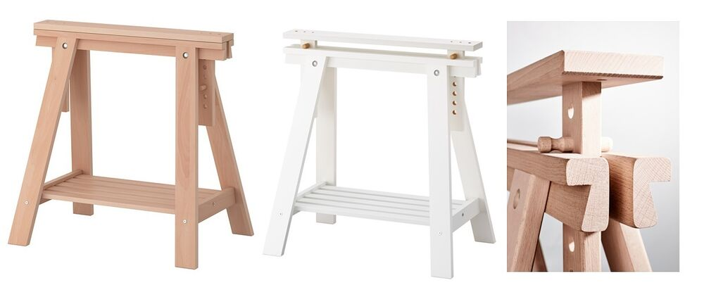 Adjustable Height Finnvard Trestle Table Wooden Stand Legs