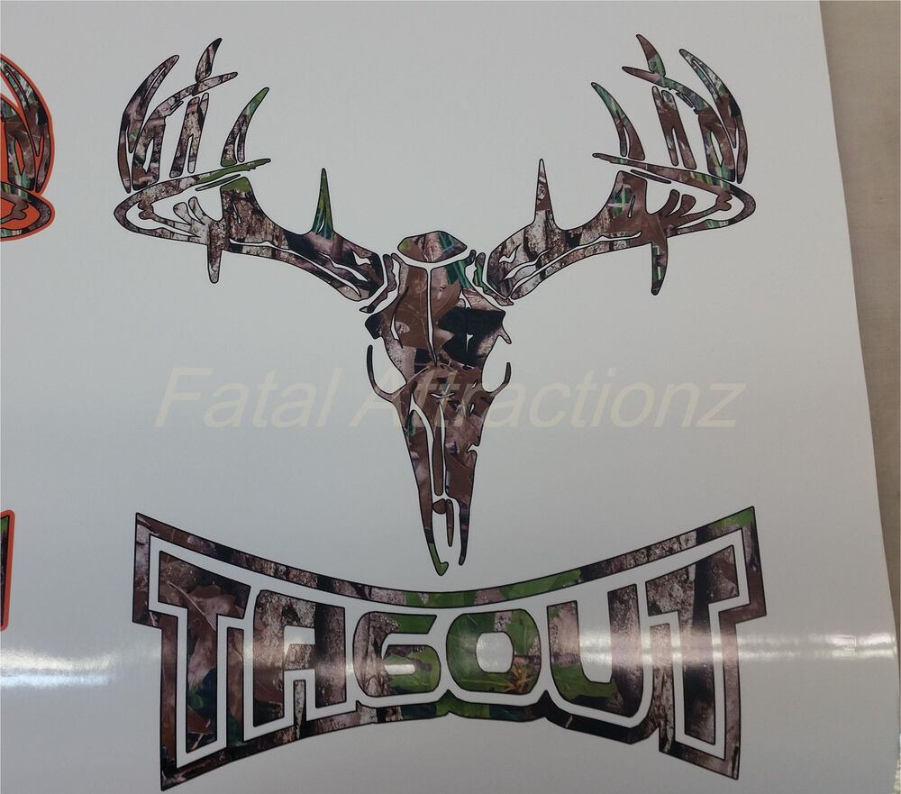 camo tagout deer skull s4 vinyl sticker decal whitetail