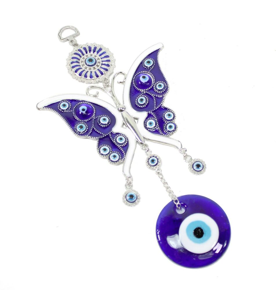 """Large Blue Evil Eye 4"""" Butterfly Amulet Protection Wall"""
