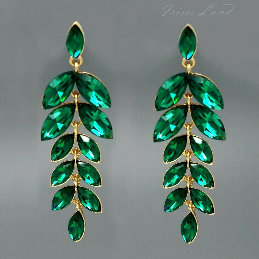 18K Gold Plated Green Crystal Rhinestone Drop Dangle