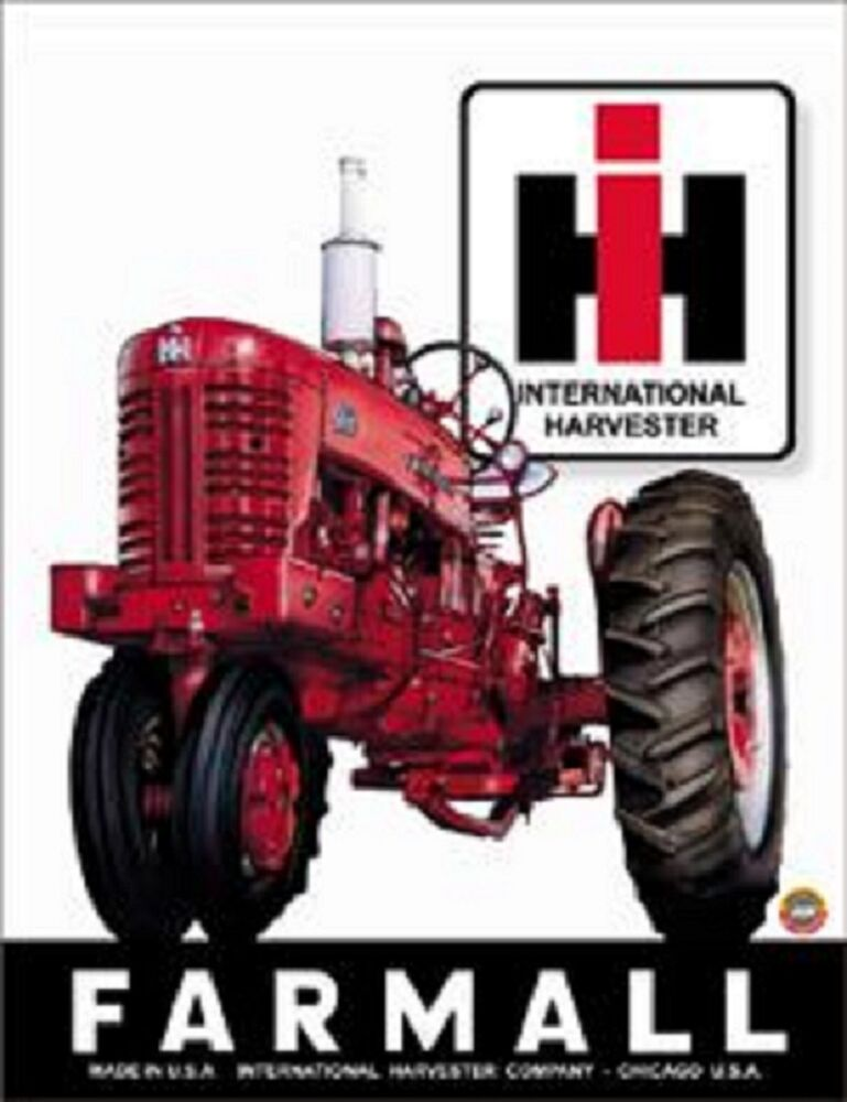 Case Tractor Posters : Farmall international harvester vintage novelty tin sign