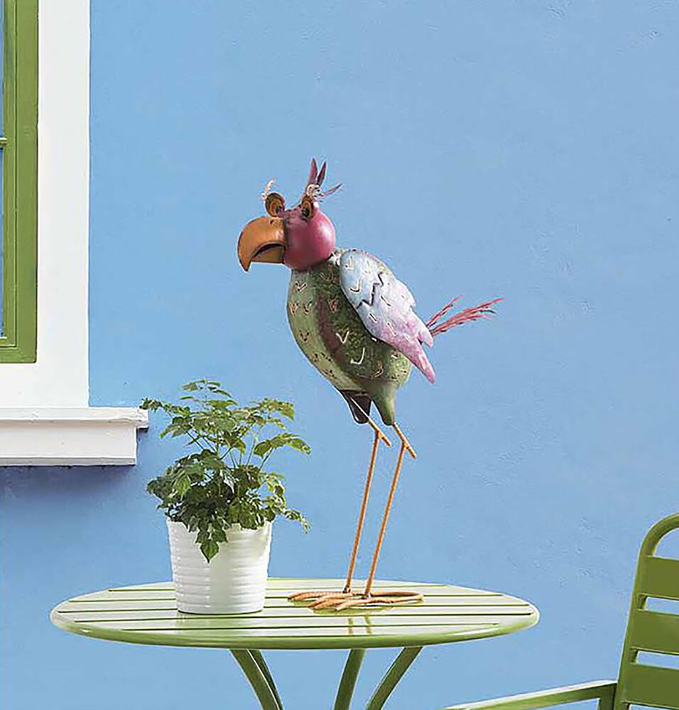 whimsical metal fun bird statue sculpture decor patio yard