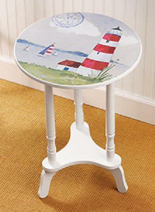 Lighthouse Beach Nautical Ocean Side End Round Table Home