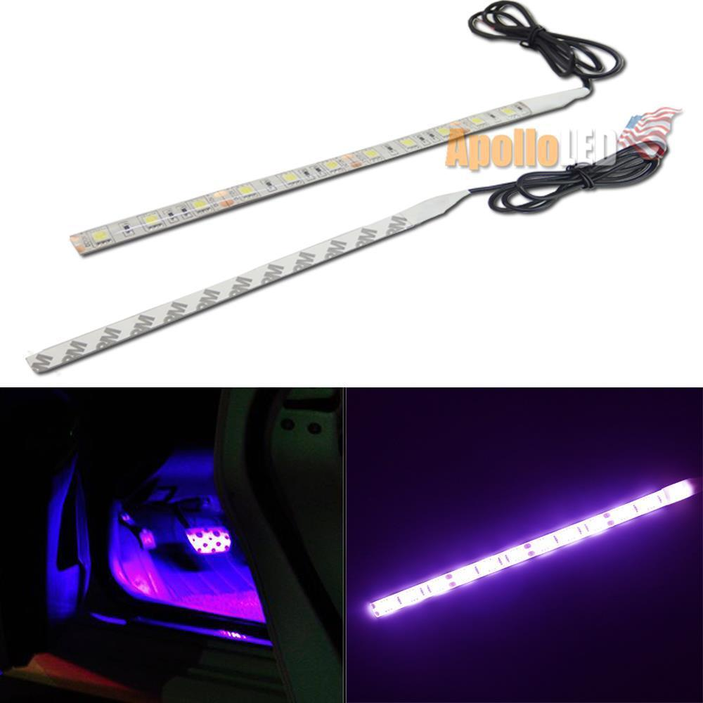 2pcs 12 5050 smd purple led strip lights for car interior foot step diy lighting ebay. Black Bedroom Furniture Sets. Home Design Ideas