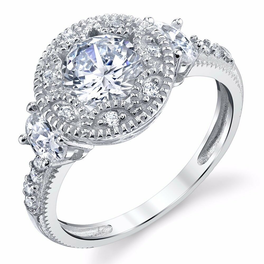 925 Sterling Silver Antique Women Halo Engagement Ring Art