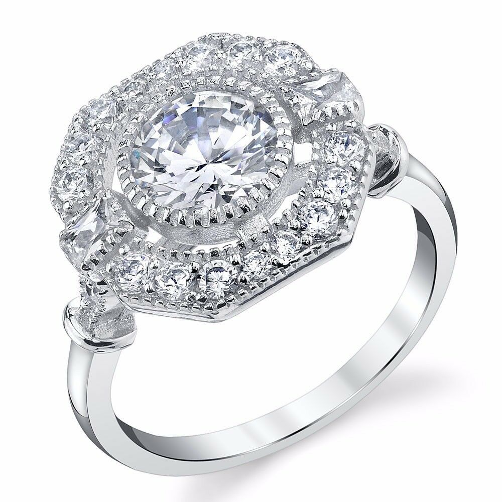 circle wedding rings antique estate halo sterling cz engagement wedding ring 2967