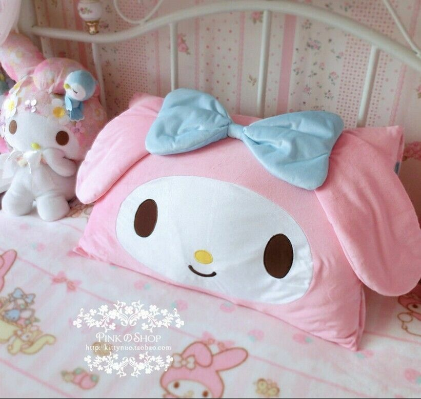 Kawaii bowknot my melody kitty face pillow case cover home for Cute home accessories