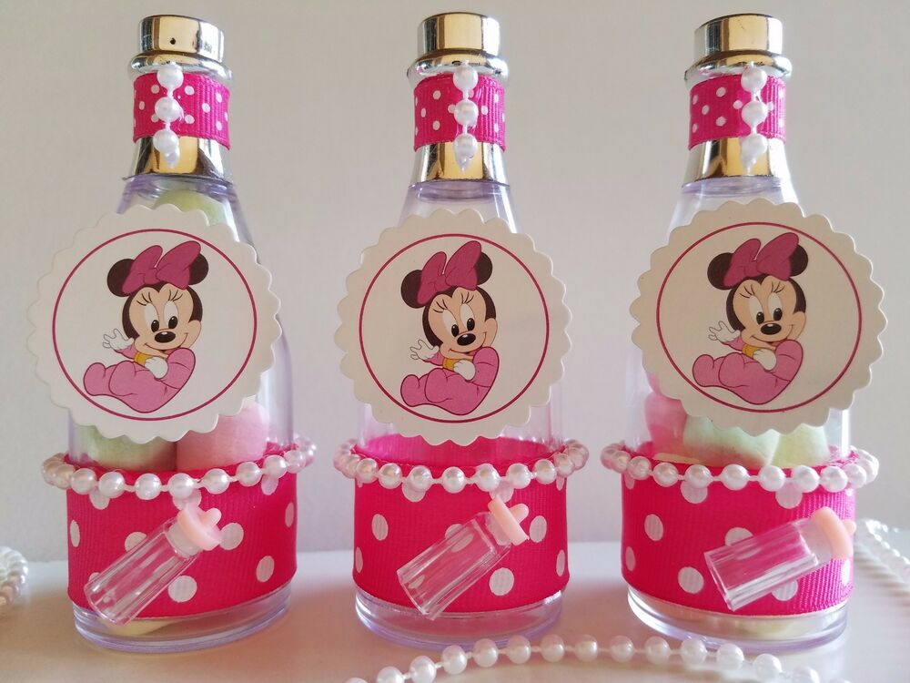 12 minnie mouse fillable champagne bottles baby shower favors game
