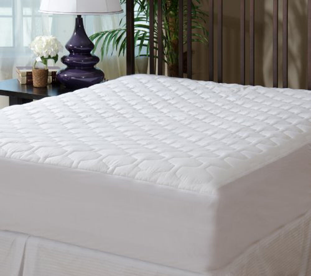 fitted quilted mattress pad cover king size comfortable. Black Bedroom Furniture Sets. Home Design Ideas