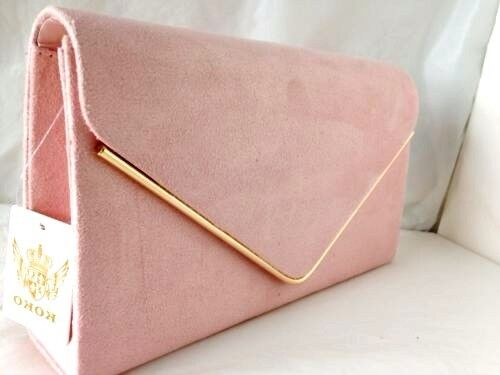 New Pale Powder Pink Faux Suede Evening Day Clutch Bag Wedding Club Party Prom Ebay