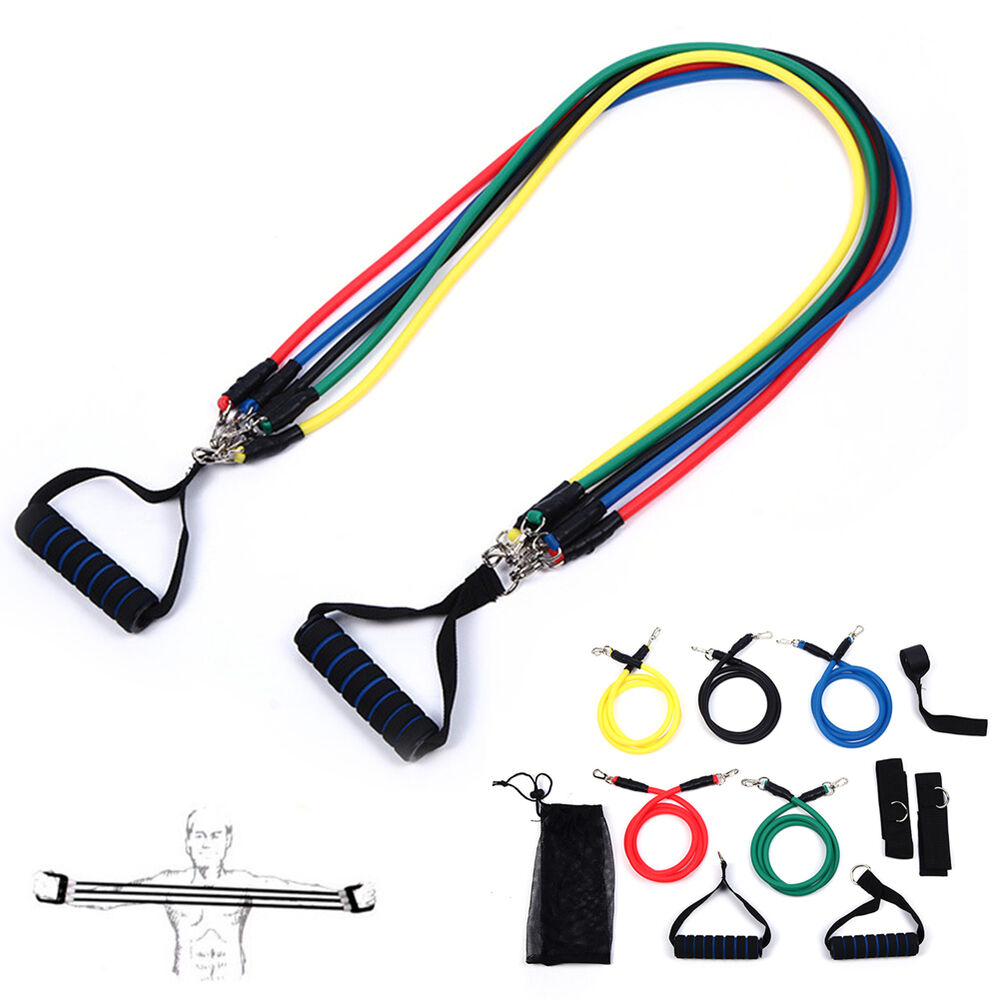 11X Fitness Resistance Bands Yoga Pilates Abs Workout