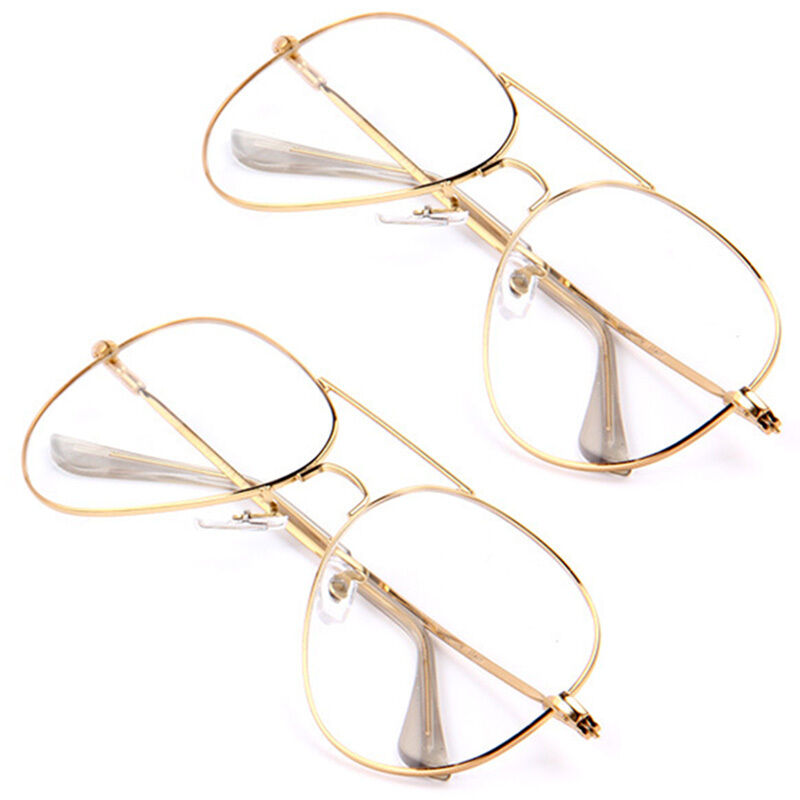 Clear Frame Glasses Retro : Fashion Sunglasses Clear Lens Aviator Gold Glasses Retro ...