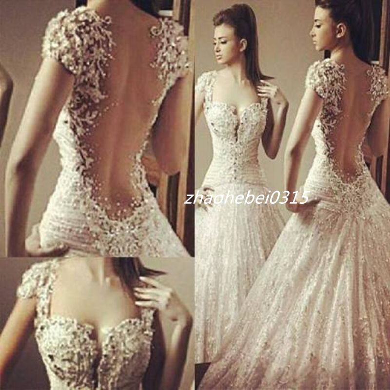 Ball Gown Lace Wedding Dresses: Bling Sexy Wedding Dresses Sheer Back White Lace Cap