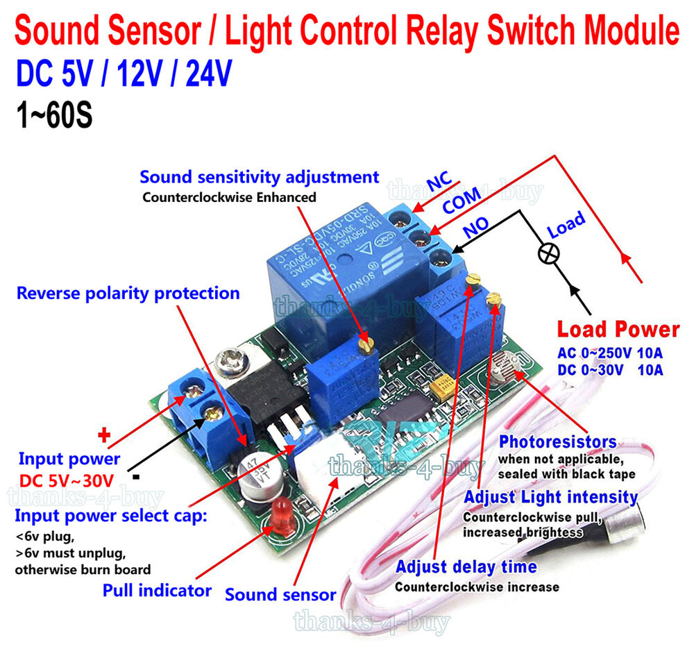 Sound And Light Control Delay Motion Sensor Switch For: DC 5V 12V 24V Sound Sensor / Light Control Relay Switch