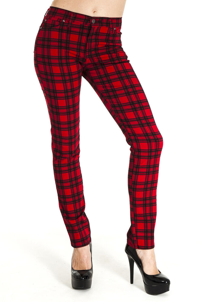 Mid-rise jeans made from a cotton-blend fabric and cut in a skinny fit for easy, comfy wear. Fashioned with an allover plaid pattern in black, white and red for some edge.