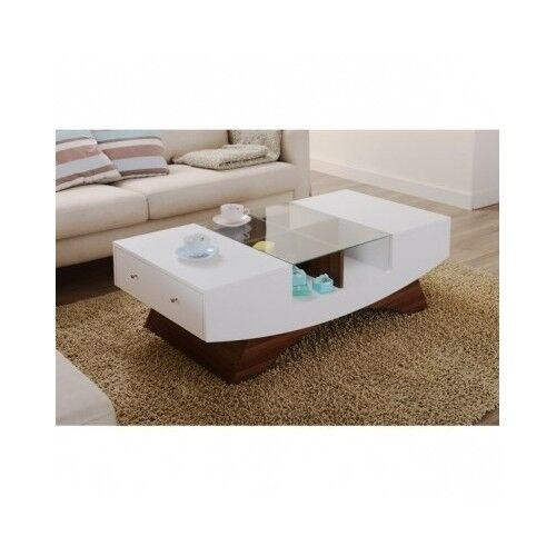 Glass Top Coffee Table With Drawers: Coffee Table Glass Drawers White Modern Contemporary