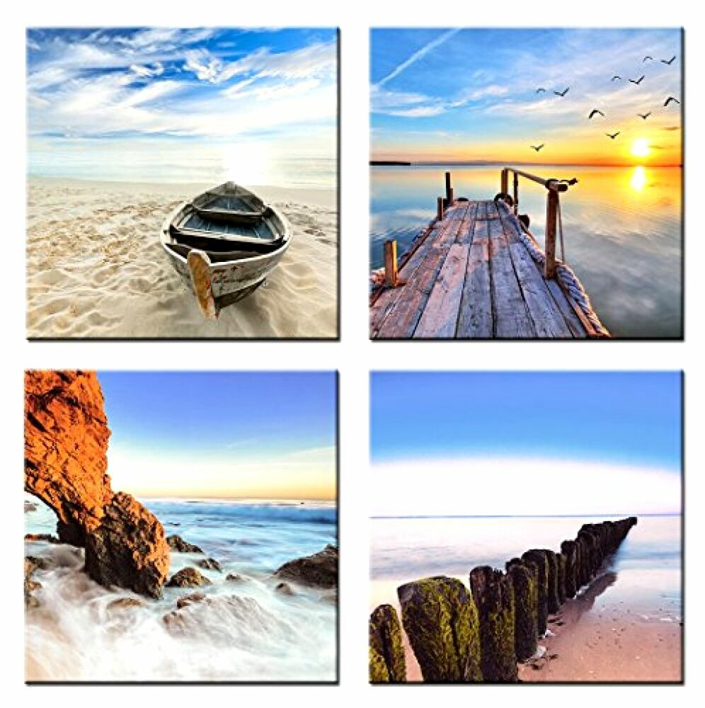 4 panels picture framed canvas print beach sunset sea for Beach mural curtains