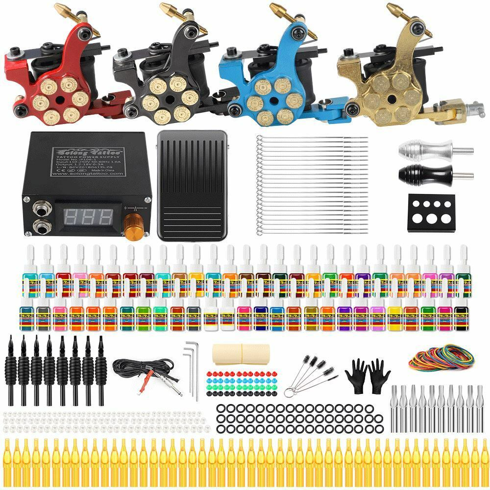 Complete tattoo kit set 4 machine gun 54 ink color needle for Where to get tattoo supplies