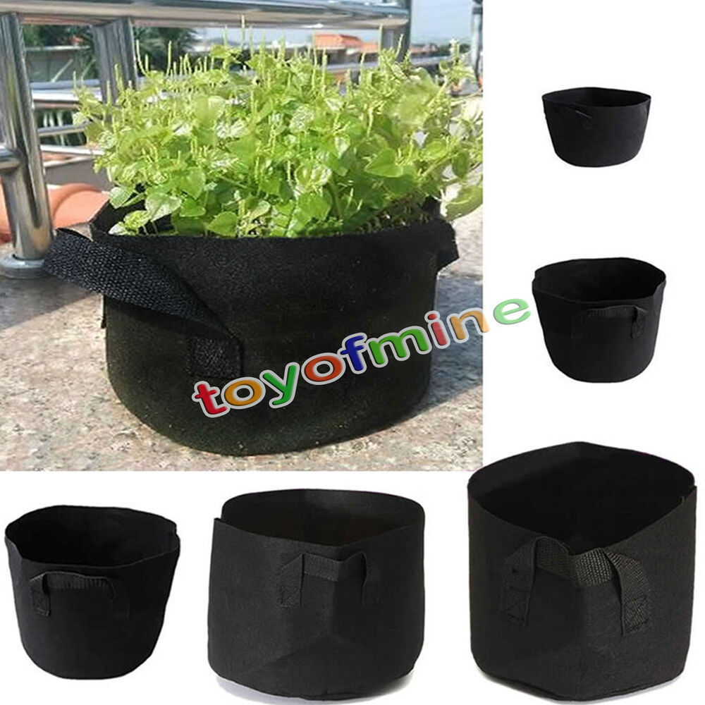 10 pack fabric grow pots breathable plant bags 1 2 3 5 7 10 gallon smart bags ebay. Black Bedroom Furniture Sets. Home Design Ideas