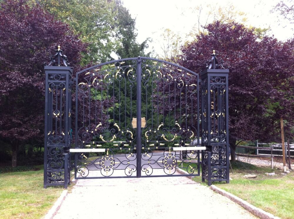 MASSIVE ESTATE HAND WROUGHT IRON MONUMENTAL DRIVEWAY GATES