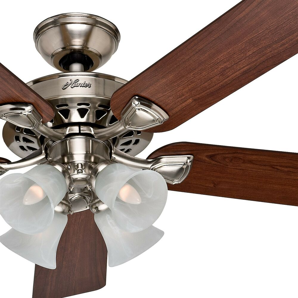 "Ceiling Fans With Light: Hunter 52"" Traditional Large Room Brushed Nickel Finish"