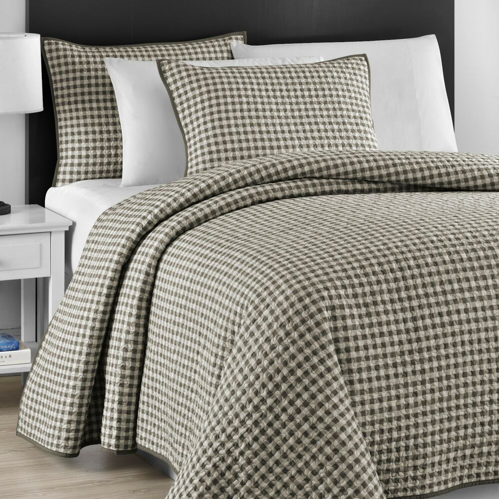 Checkered Gray Amp Off White Jigsaw Quilted 3 Piece Full