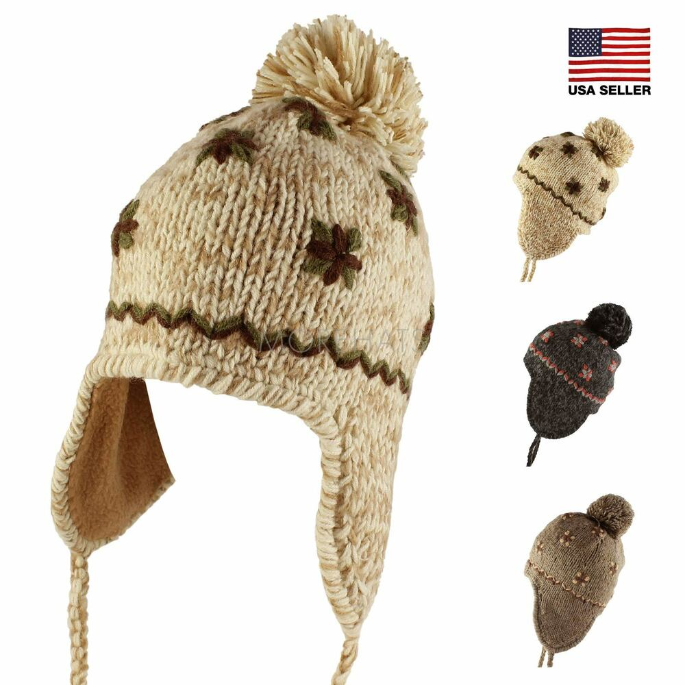 Details about Flower Knit Pom Pom Trapper Beanie Warm Winter Hat with  String Casual Women s 2b63d73e843f