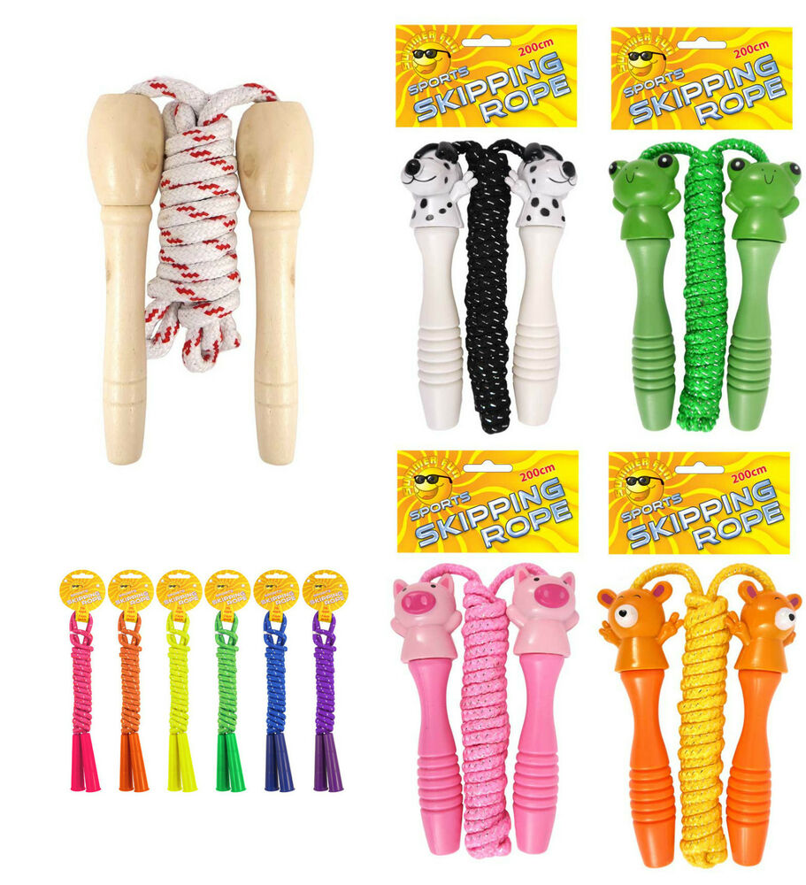 Traditional Childrens Skipping Rope Wooden Cute Animal