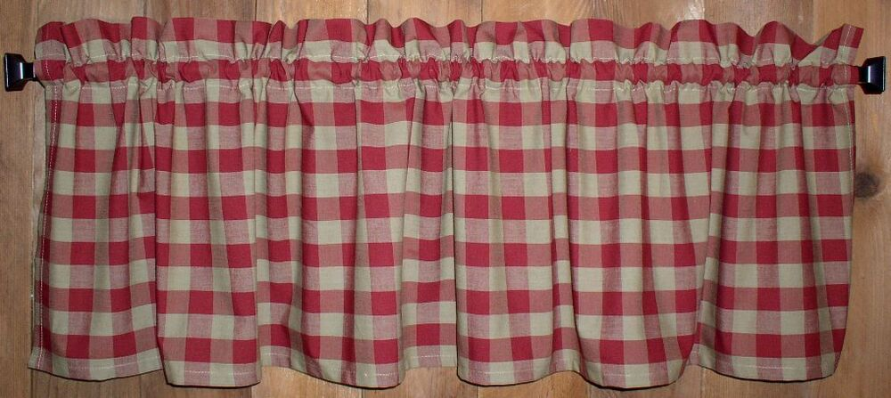 Berry Red Buffalo Check Homespun Valances Tiers Primitive Country Curtains Ebay